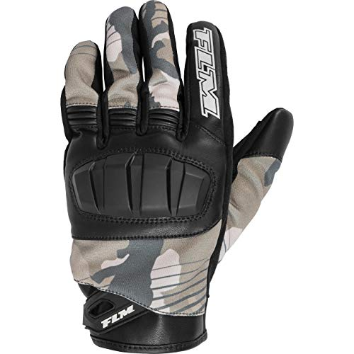 FLM Motorradhandschuhe kurz Motorrad Handschuh Sommer Textilhandschuh 2.0 schwarz/camouflage 11, Herren, Sportler, Leder/Textil