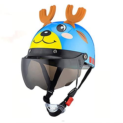 HRXS Cascos de Motocicleta para niños, niños, niñas, niños, Cuatro Estaciones, Universal, Lindo, Sombrero de Seguridad para niños, Casco de Bicicleta de Dibujos Animados para bebés,1,A