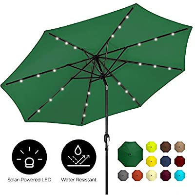 Best Choice Products 10ft Solar LED Lighted Patio Umbrella w/Tilt Adjustment, Fade-Resistant Fabric - Green
