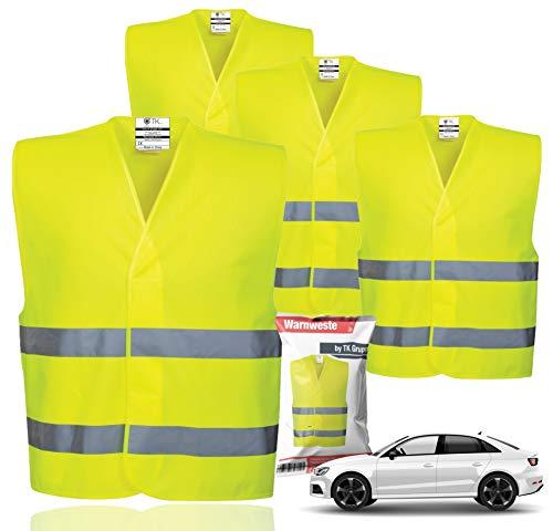 4X Warnwesten EN471 Pannenweste 2021 Unfallweste Pkw Sicherheitsweste Weste Neongelb reflektierend Auto, Pkw, LKW (4X Stück)