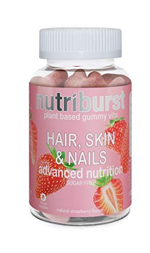 NUTRIBURST | Haare Haut Nägel Gummivitamine | Biotin, Zink, Vitamin E | Pflanzliches, zuckerfreies Ergänzungsmittel | 60 Gummis 1 Monatsvorrat | Fortgeschrittende Ernährung, vegetarisch, vegan