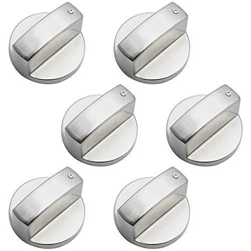 DXLing 6 Piezas Perillas de control universales 6mm Pomo para estufa de gas Gas Adaptadores de Perillas de Control de la Estufa Interruptor para Cocinas Cocina de gas Horno Estufa Estufa