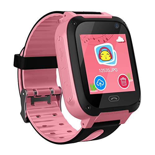 Jsbaby Kids Smart Watch Phone smartwatches for Children with GPS Tracker sim Card Anti-Lost sos Call Boys and Girls Birthday Compatible Android iOS Touch Screen Voice Chat Remote Camera