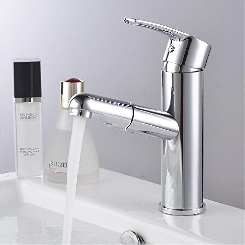 AQMMi Waschtischarmatur Wasserhahn Bad Mischbatterie Warmes Und Kaltes Wasser Pull-Out-Schwenkbar Messing Badezimmer Mischbatterie