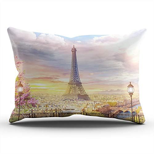 RGEMK Home Decoration Pillowcase Cushion Cover Eiffel Tower Beautiful View The Balcony Paris Throw Pillow Case Chic Design One Side Printed King Size 20 x 36 Inch