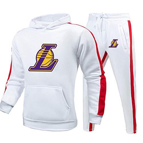 BAIDEFENG Chándal Deportivo para Hombre Conjunto de chándal de 2 Piezas Lakers Chándales completos para Hombre Pantalones de Jogging Trajes Deportivos de Gimnasia Chaqueta Deportiva Pantalones-Medio