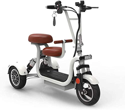 ZYW Triciclo Eléctrico Plegable Móvil De Alta Gama Ocio Al Aire Libre Ocio Scooter 48V10A Batería De Litio 45 Km Damas/Ancianos Discapacitados Triciclo Eléctrico, Negro,Blanco,13AH