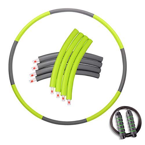 OYACH Slim Fitness Hula Hoop Reifen mit 2.8m Springseil/8 Abnehmbarer Knotens(28.7-37.4 Zoll), Hullahub Hooping Reifen zur Abnehmen für Erwachsene Anfänger Profis und Kinder Grün