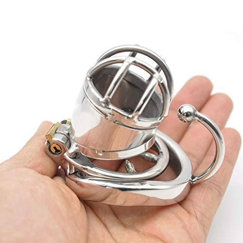 LLichao000 Short Style Herren Edelstahl Chǎstīty Lock gebogen mit Haken Sprengring (mit Anti-Off-Ring, Innendurchmesser ca. 35 mm) Mǎssage chǎstity (Size : M)