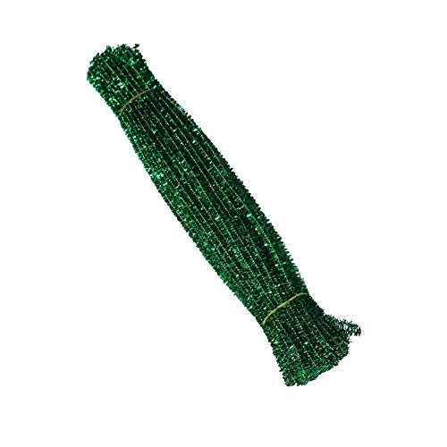 AKOAK 100 Count 6mm x 300mm Shiny Chenille Stems Metallic Pipe Cleaners Tinsel Stems Wired Sticks for DIY Arts and Crafts (Green)