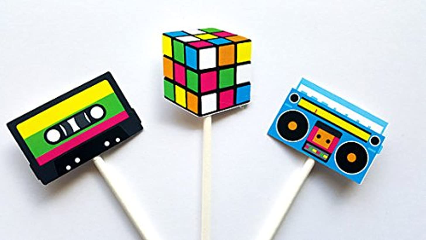 80's Party Cupcake Toppers, Cassette Tape, Cube and Boom Box