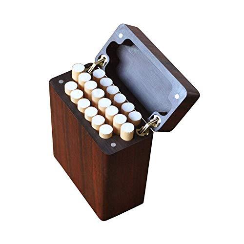 W-SHTAO L-WSWS Rote Birne Massivholz-Zigaretten-Etui, 12-Stück aus Holz Zigaretten-Etui, Warm und plump (Farbe: Braun, Größe: 9,7 * 6,6 * 2,4 cm) Zigarren-Zubehör Case