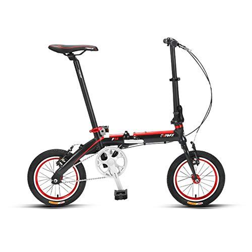 JKCKHA Bicicleta Plegable para Mujeres   Bicicleta De Ciudad para Mujeres Ultraligera De 14 Pulgadas   para Adultos,Negro