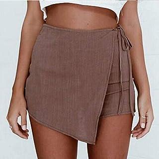 6511ba12230 QBXDQ Jupe Courte Femmes Taille Haute Jupe Dames D Été Irrégulière À Lacets  Fente Jupe