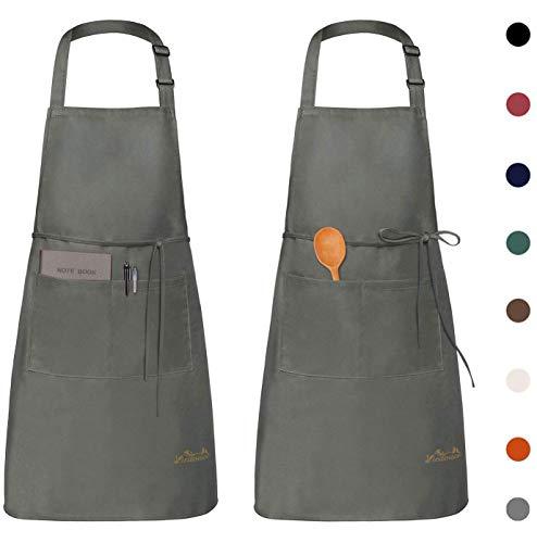 Viedouce 2 Pack Tabliers de Cuisine Etanche,Tablier Réglable avec Poches pour Cuisine Familial,Restaurant,Jardin,Tablier pour Serveurs,Serveuse (Gris)