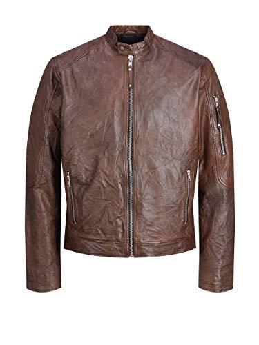Jack & Jones JJERICHARD Clean Leather Jacket Noos Chaqueta, Marrón (Brown Stone Brown Stone), M para Hombre