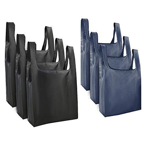 mreechan Borsa Shopping Riutilizzabile Pieghevole 50Lbs Extra Large, 6pz Sacchetti per la Spesa Poliestere Resistente Lavabile Borse riciclabili per la conservazione del supermercato Uso Quotidiano