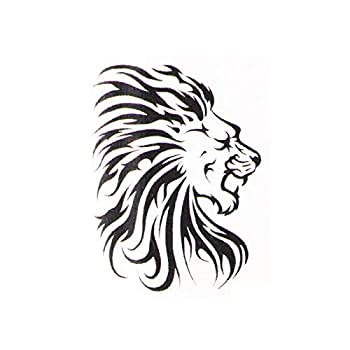 Tribal Lion temporary tattoo | Lion Fake removable tattoos & temp tatto designs | Tatoo decal party stickers ideas Last 2-5 days & go on with water Removeable party sticker decals