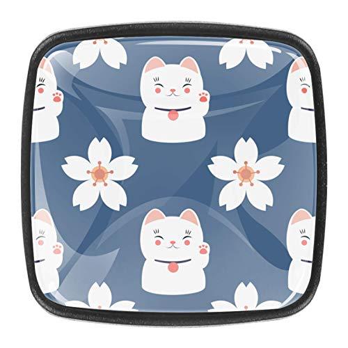 4 pomos de cristal para armario, armario, cajón, tirador de puerta, diseño de gato de la suerte, flores de cerezo