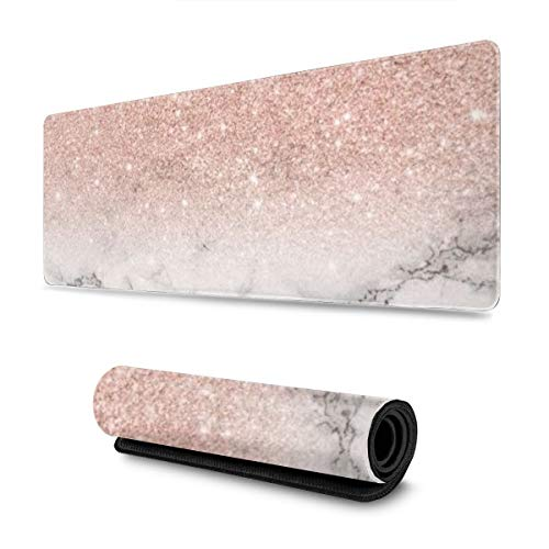 Rose Gold Marble Design Pattern XXL XL Large Gaming Mouse Pad Mat Long Extended Mousepad Desk Pad Non-Slip Rubber Mice Pads Stitched Edges (31.5x11.8x0.12 Inch)