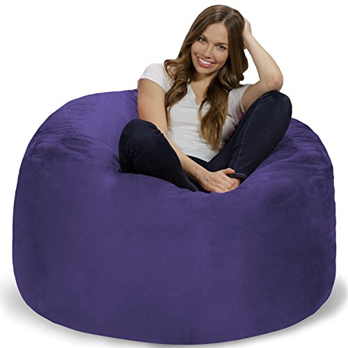 Chill Sack Bean Bag Chair: Giant 4' Memory Foam Furniture Bean Bag - Big Sofa with Soft Micro Fiber Cover - Purple
