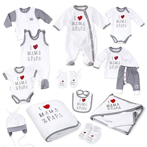 Baby Sweets Baby Erstausstattung Unisex in Weiß Grau Rot im Motiv: I Love Mama & Papa als Baby Set mit 14 Teilen für Neugeborene & Kleinkinder für die Größe: Newborn (56)