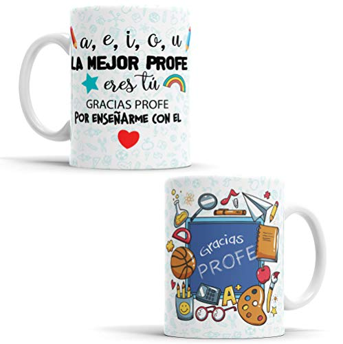 OyC Original y Creativo Taza para Profe- Taza Aquí Bebe la Mejor Profe del Mundo - Taza Regalo para la Profe - Taza con Frase y Dibujo (PROFE)