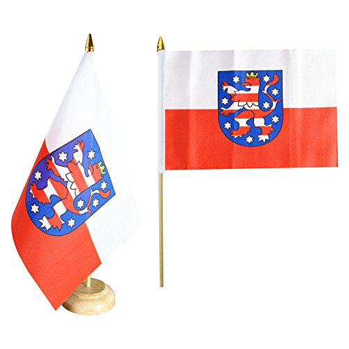 Flaggenfritze Tischflagge/Tischfahne Deutschland Thüringen + gratis Aufkleber