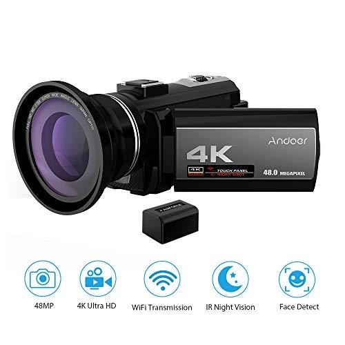 Andoer 4K 48MP WiFi Digital Videokamera Camcorder mit 0,39 X Weitwinkelobjektiv 3,0 Zoll Touchscreen IR Infrarot Night-Shot 16X Digitalzoom mit 1 Stück 2500mAh Akku-Batterie