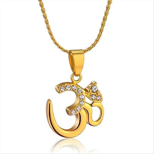 Collar Mujer Signo hindú Collar Yoga Charm Collares Pendientes para Mujeres Lindos Hombres pequeños India Oración Colgantes Collares Cadena Fina Joyería Collar Regalo
