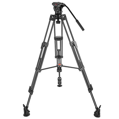 Neewer Dreibeinstativ Professionelle Schwerlast Videokamera Stativ, 163 cm Aluminiumlegierung mit 360 Grad Flüssigkeitskopf, 1/4 und 3/8 Zoll Schnellspannerplatte, Tasche, Tragkraft bis zu 8 Kilogramm