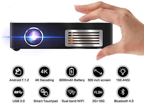 Intelligent new projector Portable Home Cinema Projector with Android7.1 OS, 150 ANIS Lumen with 4K, USB, WIFI and BT, Built-in 8000 MAH Rechargeable Battery Supports IOS Android Laptop PC [Upgraded]