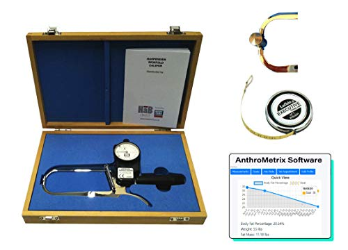 Harpenden Skinfold Caliper Pro Kit with AnthroMetrix Software, Lufkin W606PM Tape Measure, Wood Case and Instruction Manual with Charts to Measure Body Fat Percentage - 0.2 mm Accuracy