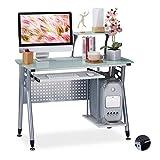 Relaxdays, 98 x 105 x 55 cm, Blanco Escritorio de PC, Bandeja de Teclado, Compartimento para la Torre del Ordenador, Metal-Vidrio
