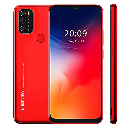 Blackview A70 2021 Teléfono Móvil, Smartphone Libre Android 11, Pantalla 6.517 Water-Drop, 3GB RAM+32GB ROM, 5380mAh Batería, 13MP+5MP, 4G Dual SIM, Face ID, GPS, Rojo