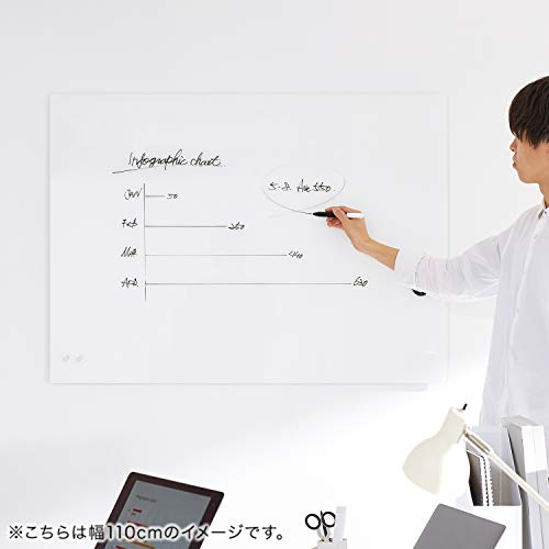 『LOWYA ロウヤ ホワイトボード ガラスボード 強化ガラス 壁面 110×80cm 通常タイプ ホワイト』の8枚目の画像