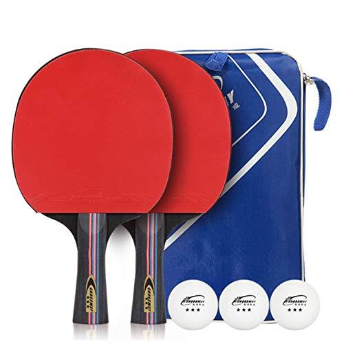 Best Bargain Walled King 1 Pair Table Tennis Bat Racket Long Short Handle Ping Pong Paddle Racket Se...