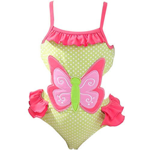 Saidi Girls One Piece Swimsuit Hollow-Out Butterfly Swimwear Yellow Pink(Butterfly,4T)