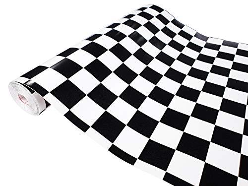 DecoMeister Klebefolien Deko-Folien Selbstklebefolie Möbelfolie Selbstklebend Motiv Muster 45x100 cm Monza Schachbrett Schwarz-Weiß
