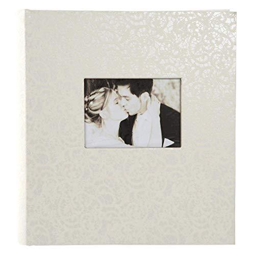 goldbuch 31485 Hochzeitsalbum mit Fensterausschnitt, Romeo, Fotoalbum zur Hochzeit, 30 x 31 cm, Album mit 100 weiße Seiten mit Pergamin-Trennblättern, Erinnerungsalbum mit Kunstleder, Weiß