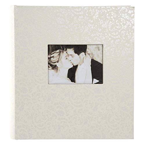 goldbuch Hochzeitsalbum mit Fensterausschnitt, Romeo, 30 x 31 cm, 100 weiße Seiten mit Pergamin-Trennblättern, Kunstleder, Weiß, 31485