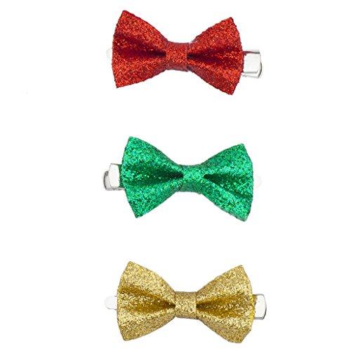 Lux Accessoires de Noël Vacances de Noël Paillettes Bow Clips Lot 3PC