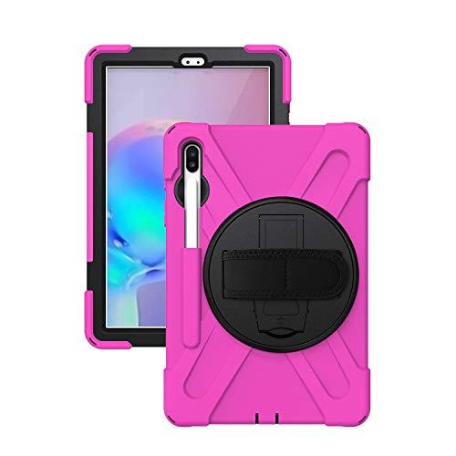 Mogzank Funda para Galaxy Tab S6 Funda Protectora Resistente una los Golpes de 10.5 Pulgadas con Correa de Mano Giratoria 360 / Kickstand 2019 SM-T860 / T865 / T867 (Rojo Rosa)
