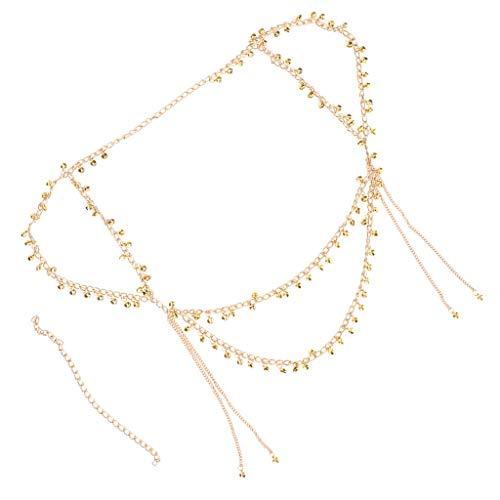 Sharplace Metall Taille Gürtel Taillekette Seil Bauchkette Hüftgürtel Kleidgürtel mit Anhänger für Bauchtanz - Gold