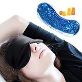 Antifaz para Dormir con Antifaz de Gel, JAANY 100% Seda Pura Anti-Luz Máscara de Ojos, Máscara de Dormir con Tapón de Oído y Ajustable Correa