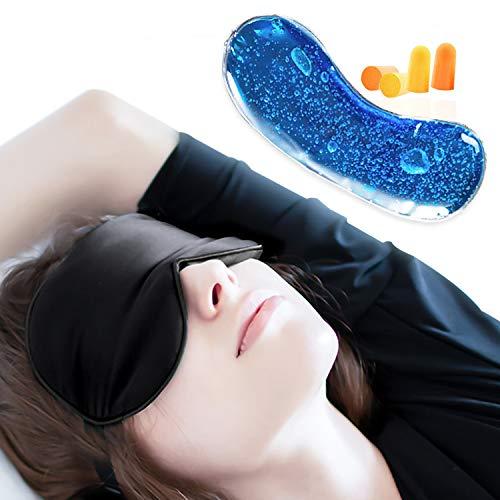 Maschera per Dormire con Refrigerante Occhi, Mascherina Notte 100% Seta Naturale Terapia del Caldo Freddo JAANY (Nero)