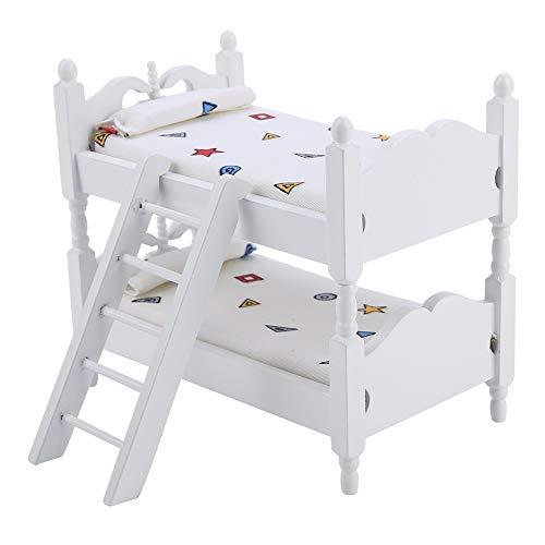 Felenny Letti a Castello per Bambole Toyhouse Mini Mobili a Doppio Strato per Bambini Modello di Camera da Letto Accessori Giocattolo Adatti per Casa delle Bambole 1/12