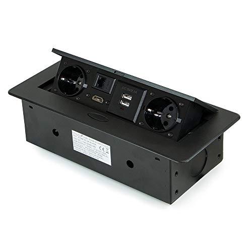 Emuca – ausziehbare und in den Tisch einlassbare Vielfachsteckerleiste, Mehrfachstecker (EU-Stecker Typ F, USB, RJ45 und HDMI), 265x120 mm, Schwarz