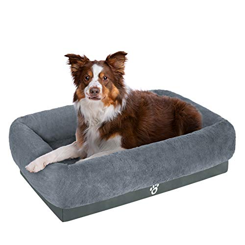 Mirkoo Orthopedic Dog Bed, Plush Calming Dog Sofa, Fur Lounger for Large Medium Small Cats, Machine Washable, Removable Cover, Waterproof Lining