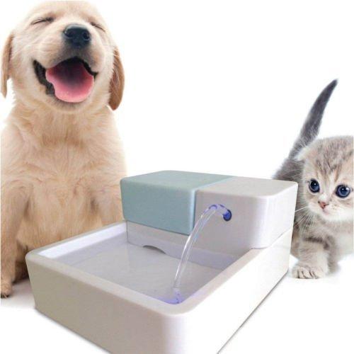 Jian YA NA Elektrischer Wasserbrunnen für Hunde und Katzen, 1,8 l, mit LED-Licht